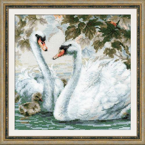 1726 Набор для вышивания Риолис 'Белые лебеди' 25*25см