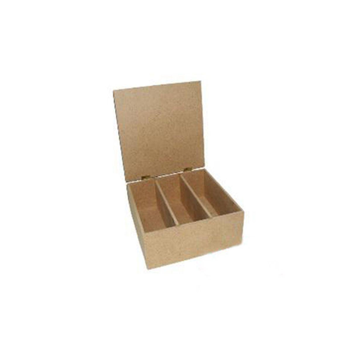 AH6140101 Заготовка из МДФ 'Коробка для чая', 3 отделения, крышка на петлях, 22,5х22,5х9 см