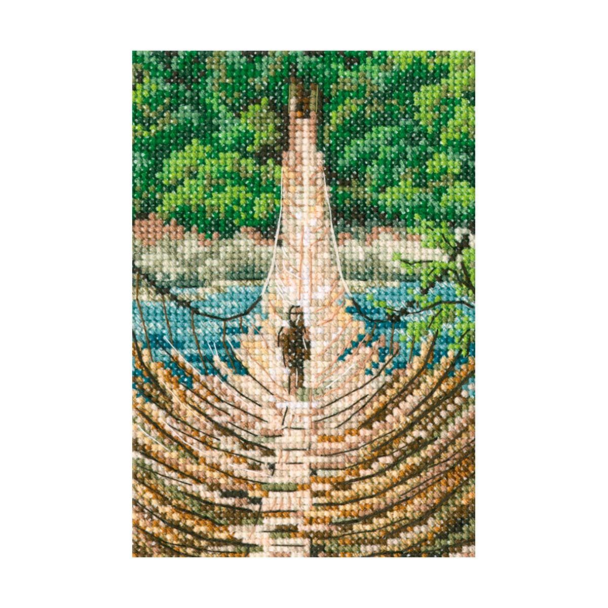 С311 Набор для вышивания РТО 'Подвесной бамбуковый мост на реке Сианг'9x13,5см