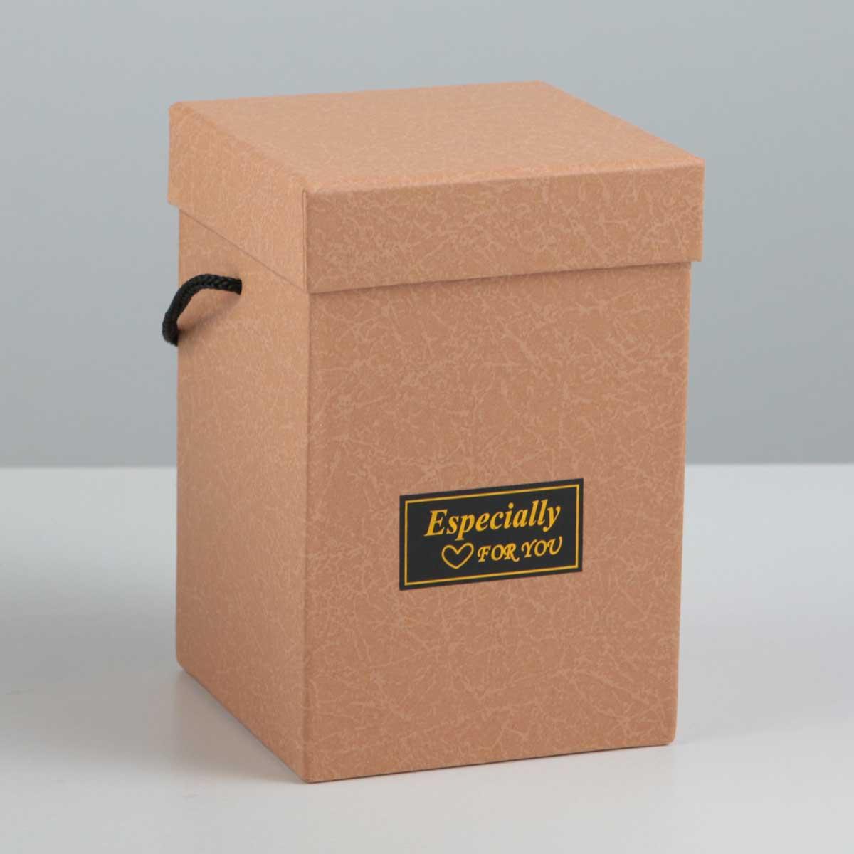 2664347 Коробка квадратная с веревочными ручками 10*10*16 см