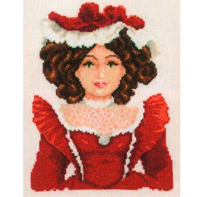 2002-75032 Набор для вышивания Vervaco 'Дама в красном' 20*26см
