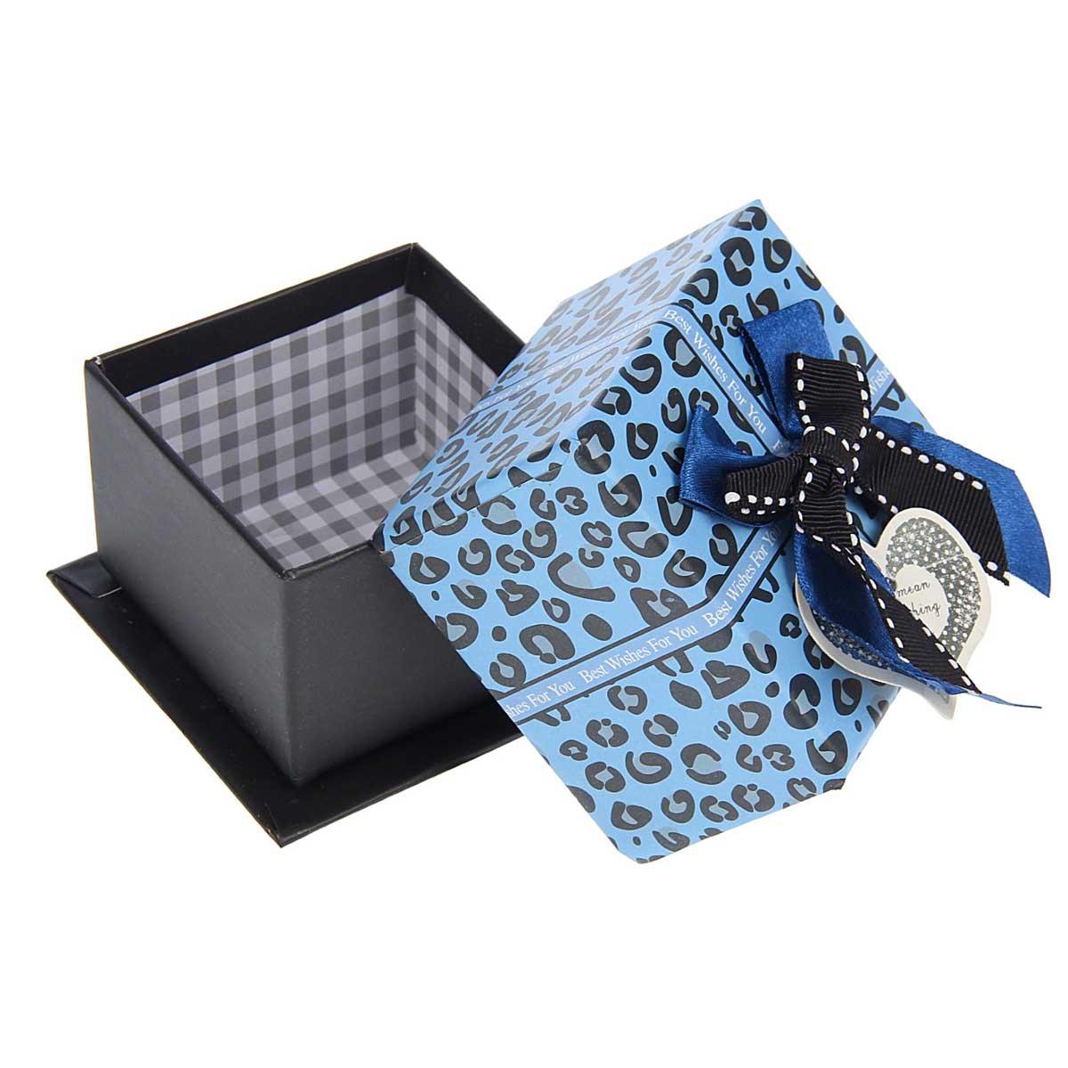 1534065 Коробка подарочная квадрат 8,5 х 8,5 х 5,5 см 'Кружочки', цвет синий