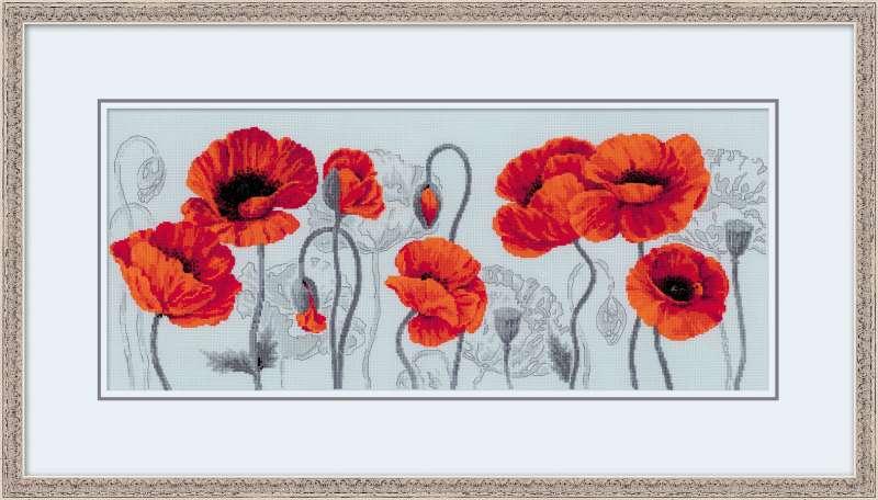 100/037 Набор для вышивания Риолис 'Алые маки', 30x70см