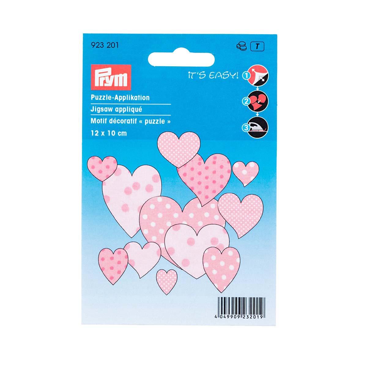 923201 Термоаппликация 'Пазл Сердца розовые' 1шт Prym