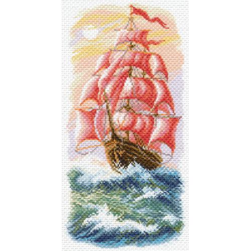 1640 Канва с рисунком 'Матренин Посад' 'Алые паруса', 24*47 см