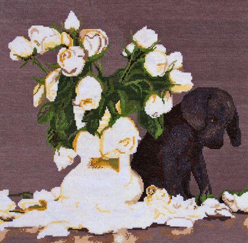 695 Набор для вышивания Hobby&Pro 'Щенок и розы', 40*39 см