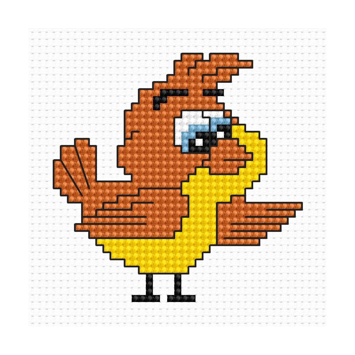 B085 Набор для вышивания 'Моя первая вышивка. Птичка' 6,5*6,5 см, Luca-S