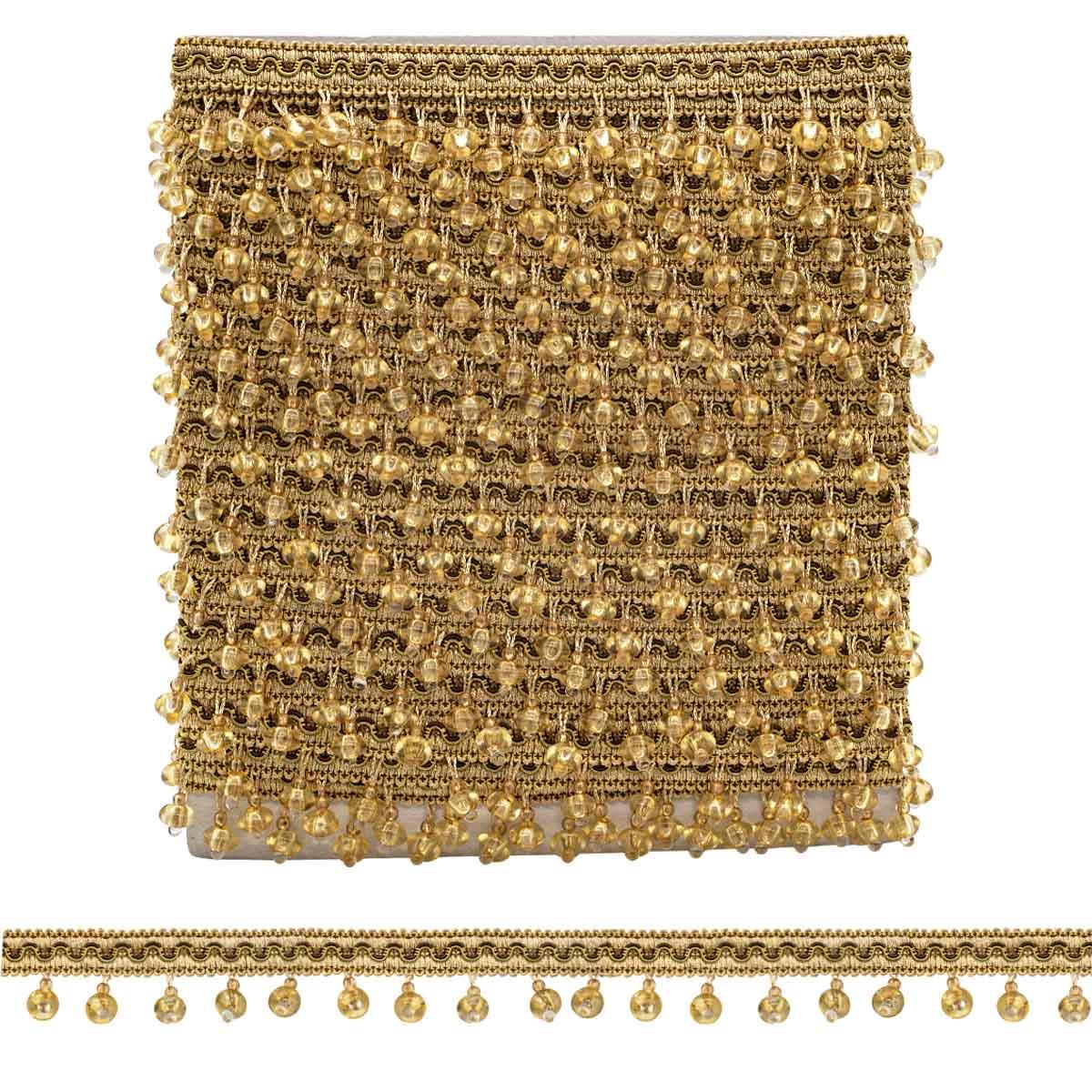 RY20-2 золотой бахрома стеклярус (4 см/12 м)