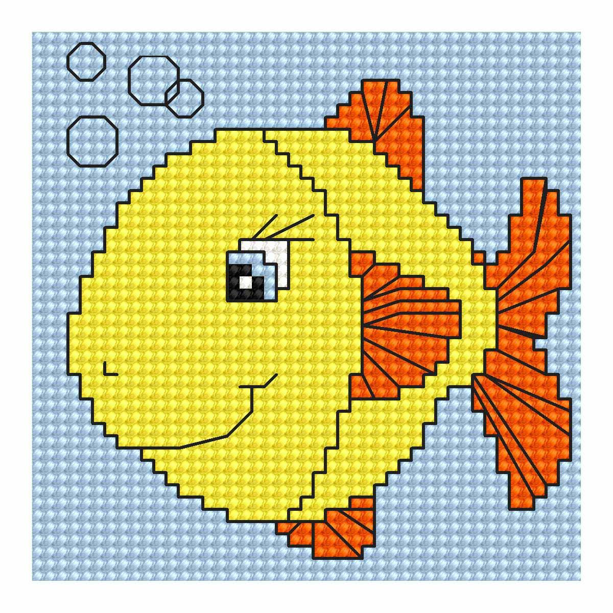 B080 Набор для вышивания 'Моя первая вышивка. Рыбка' 8*8 см, Luca-S