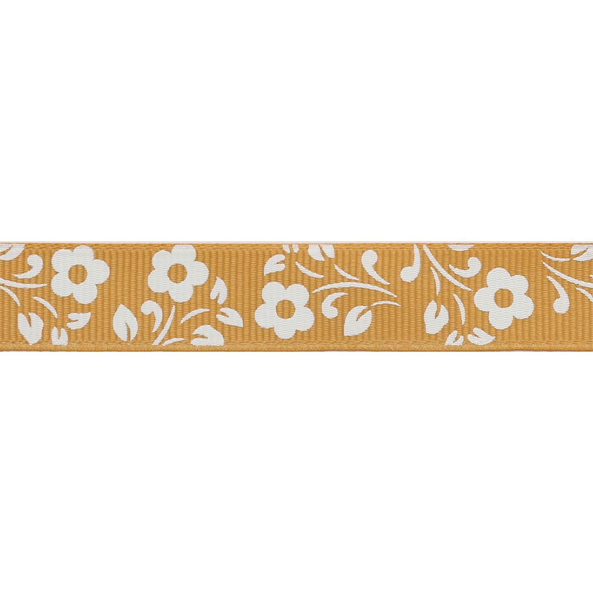 Лента репсовая 'Белые цветы' 1,5см*45,72м