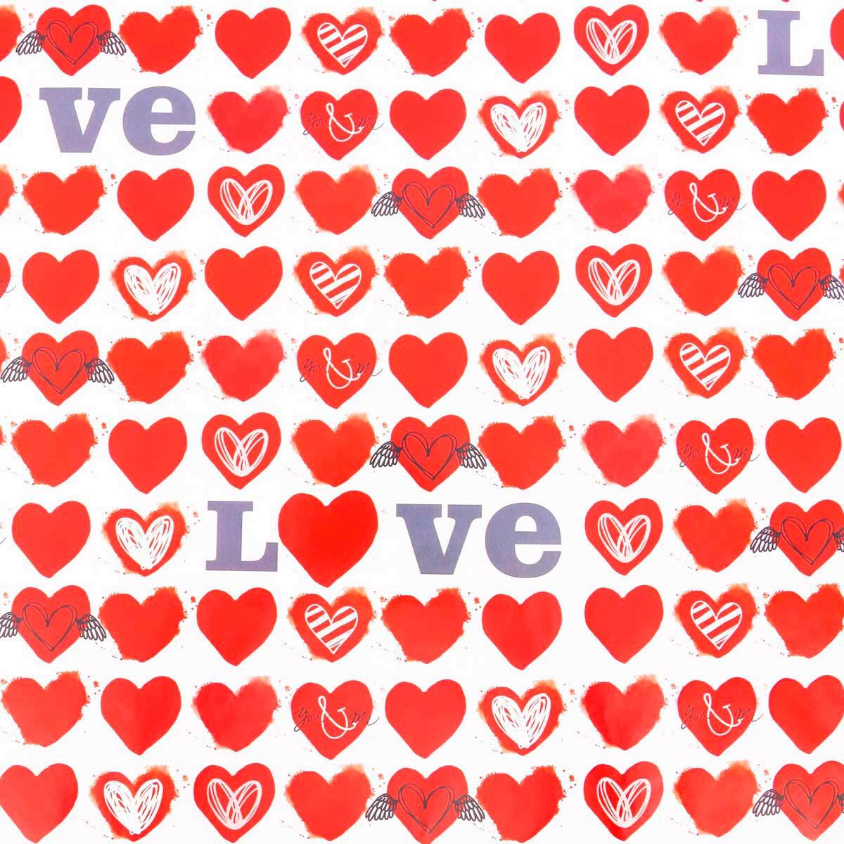3413609 Бумага упаковочная глянцевая Love, 50*70 см