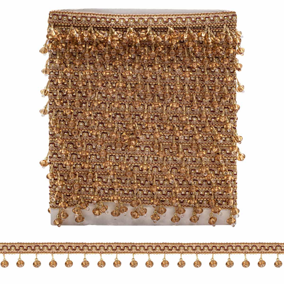 RY20-6 светло-коричнево/персиковый бахрома стеклярус (4 см/12 м)