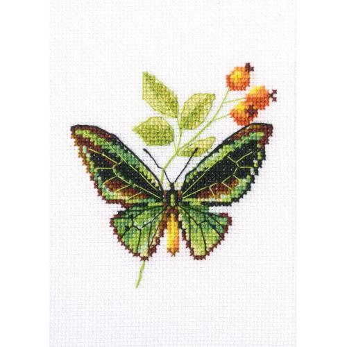 EH363 Набор для вышивания RТО 'Веточка шиповника и бабочка', 8,5x9 см