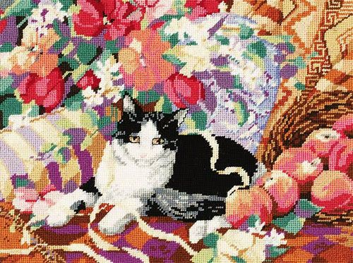 023-0163 Набор д/вышивания JANLYNN 'Кошка на софе' 40,6*30,5 см