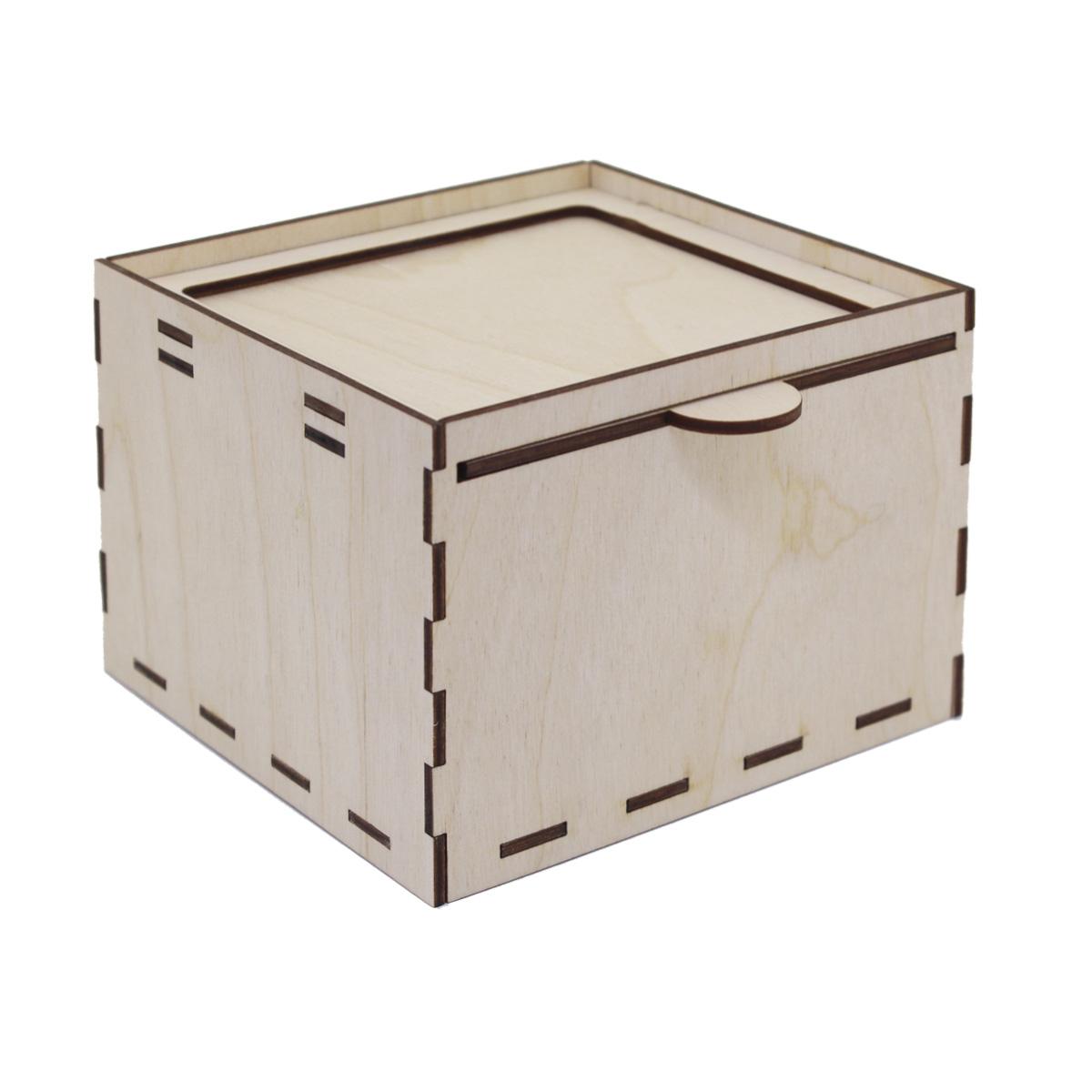 L-677 Деревянная заготовка шкатулка квадратная с выдвижной крышкой 13,5*13,5*10 см, Астра