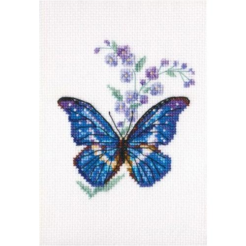 EH364 Набор для вышивания RТО 'Синюха и бабочка', 8,5x9,5 см