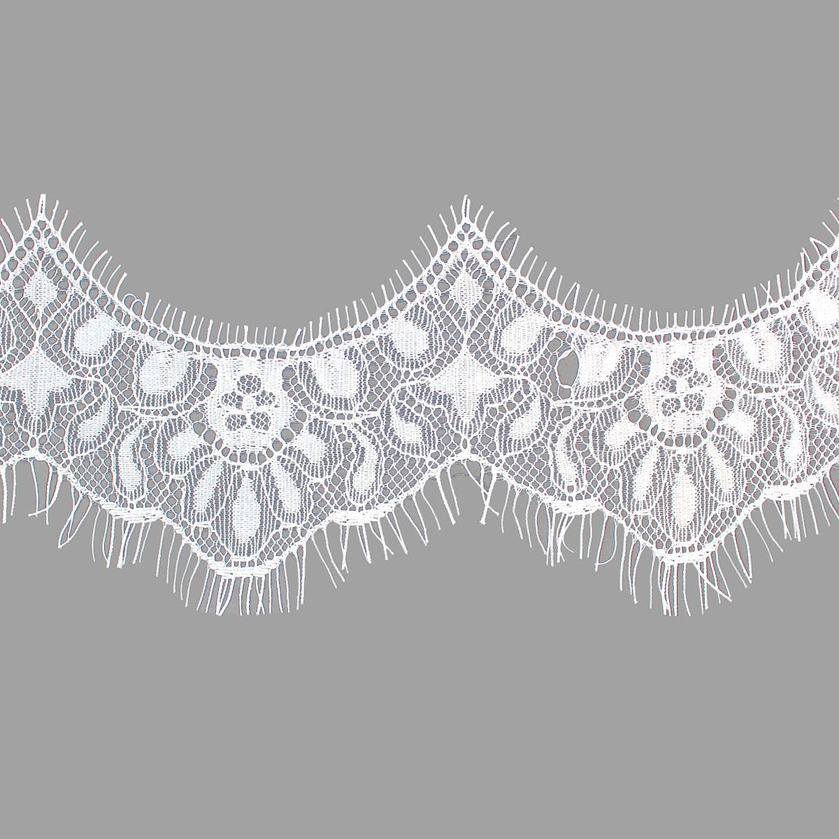 SJ026 Кружево 'Шантильи' на сетке 6,5см*3м, белый
