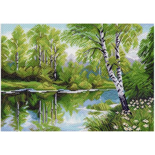 1020 Канва с рисунком 'Матренин посад' 'Березы у озера', 37*49 см