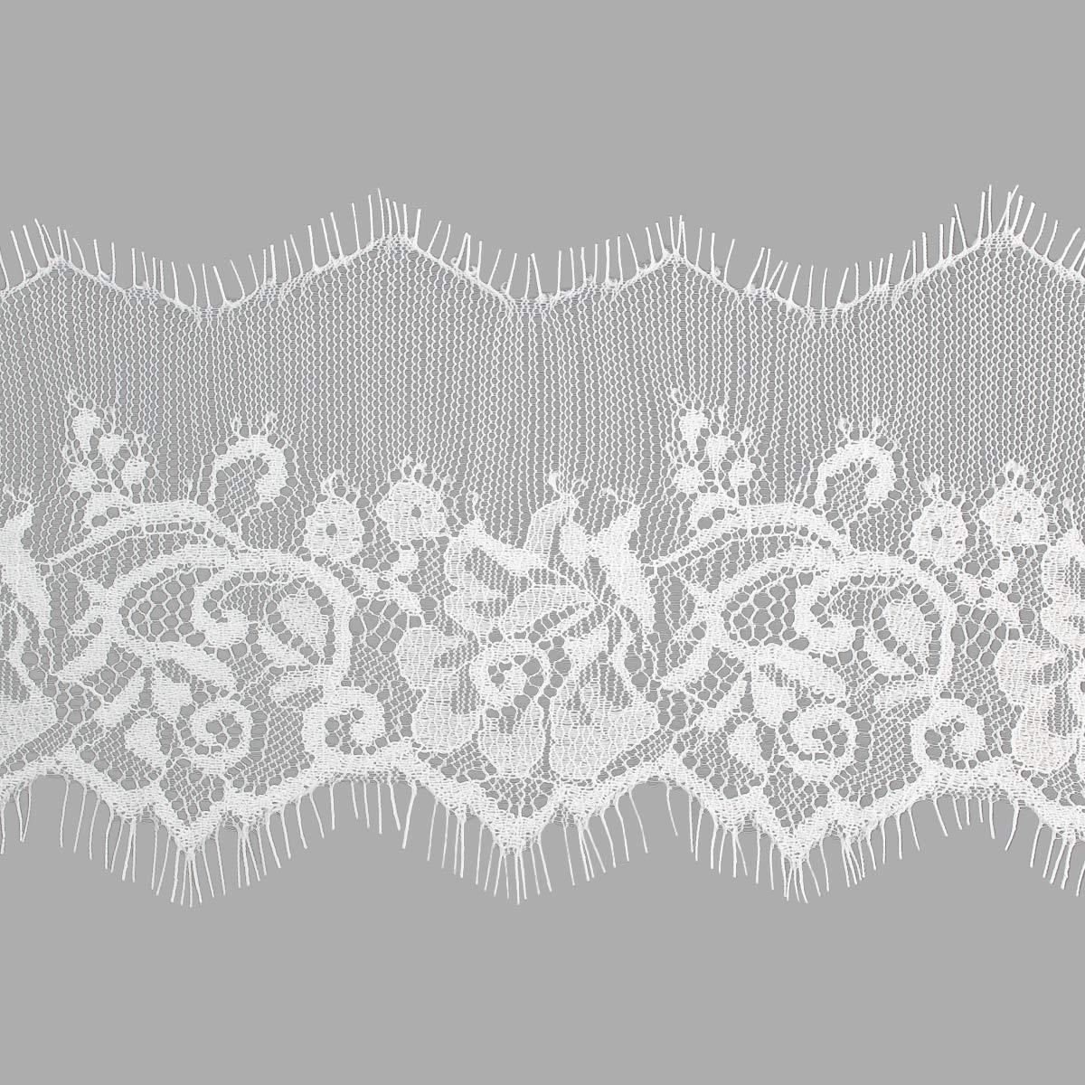 SJ053 Кружево 'Шантильи' на сетке 10,0см*3м, белый