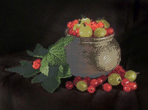 70046 Канва с рисунком Gluriya 'Виноград и сливы' 29*43 см