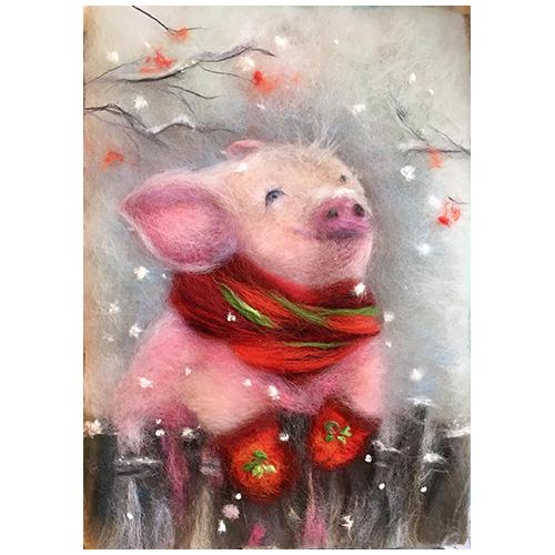 Набор для валяния (живопись цветной шерстью) 'Первый снег' 21x29,7см (А4)