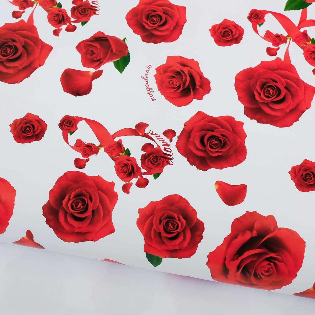2887319 Бумага упаковочная глянцевая «Розы», 70*100 см