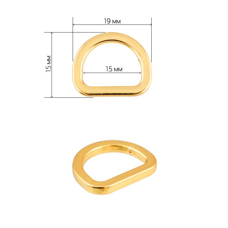 Полукольцо металл TBY-21501 19х15мм (внутр. 15мм) цв. золото уп. 10шт, TBY021501