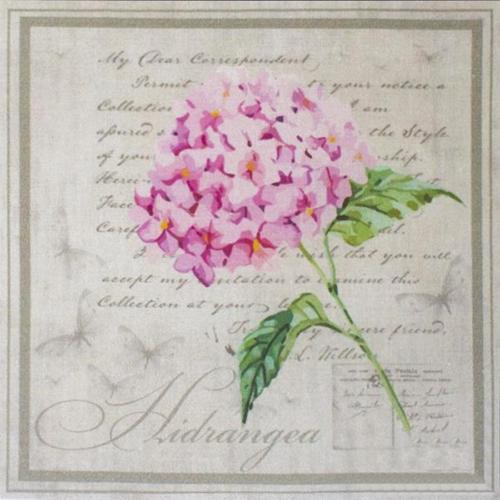AM650015 Купон с рисунком' Гортензия розовая в рамке',хлопок 100%, 120 г/м2,размер20*20 см,край 1-5см