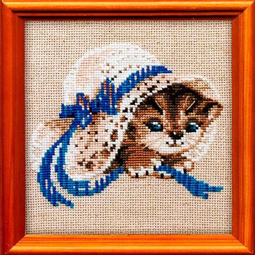 748 Набор для вышивания Riolis 'Котёнок в шляпе', 15*15 см