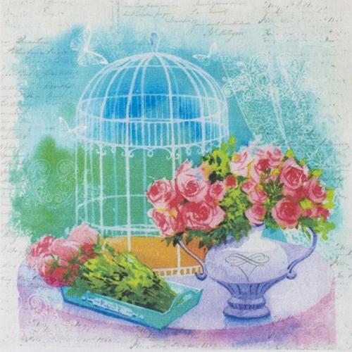 AM650017 Купон с рисунком'Винтажная клетка с розами',хлопок 100%, 120 г/м2,размер20*20 см,край 1-5см