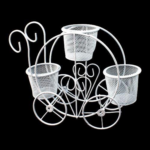 SCB271043 Металлическая тележка с тремя плетёными горшочками, белая, 24,5*16*7*18 см, ScrapBerry's