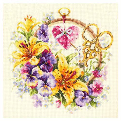 100-121 Набор для вышивания Чудесная игла 'Лилии для рукодельницы'25*25см