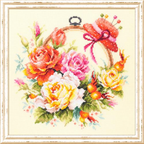 100-122 Набор для вышивания Чудесная игла ' Розы для мастерицы'25*25см