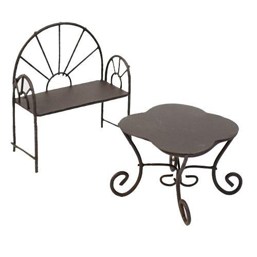 SCB271023 Металлические мини столик-ромашка и кресло, коричневые. Стол 5,5*4,5 см, кресло 5*6,5 см