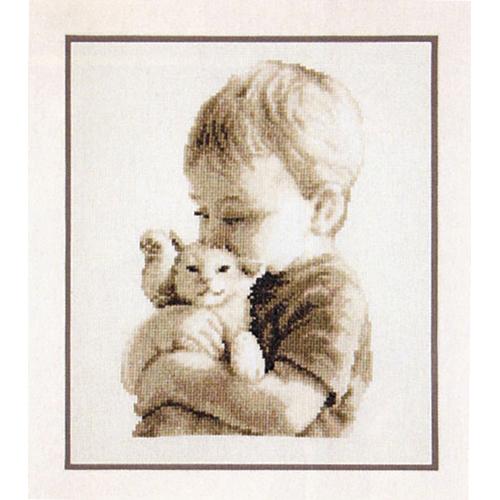 PN-0148508 Набор для вышивания Vervaco 'Мальчик с котёнком' 19x26см