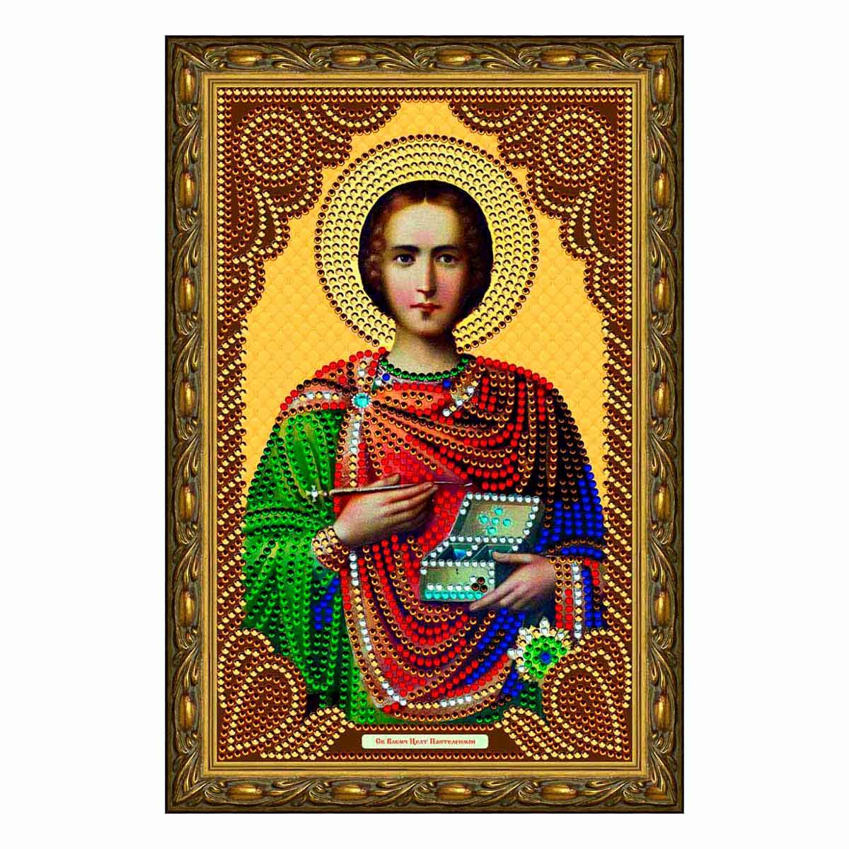 IK012 Картина со стразами Колор Кит 'Святой Великомученик Целитель Пантелеймон' 20*30см