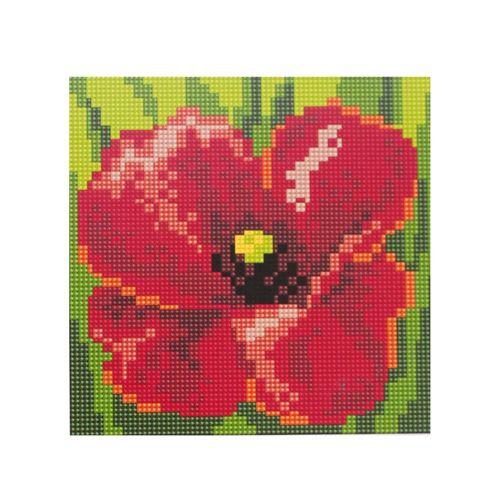 BZ051 Мозаика на деревянной основе 'Красный цветок', 20*20 см