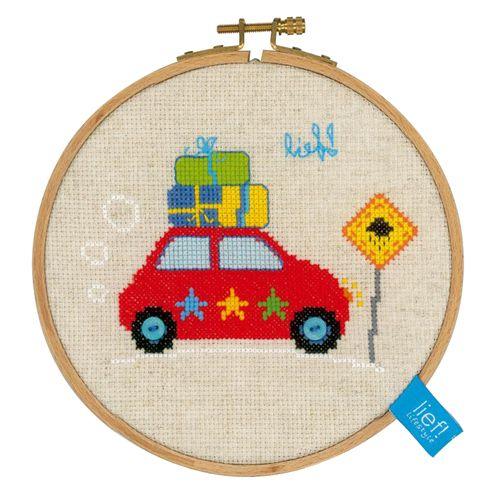 PN-0150916 Набор для вышивания Vervaco 'Красная машинка' 14,5см