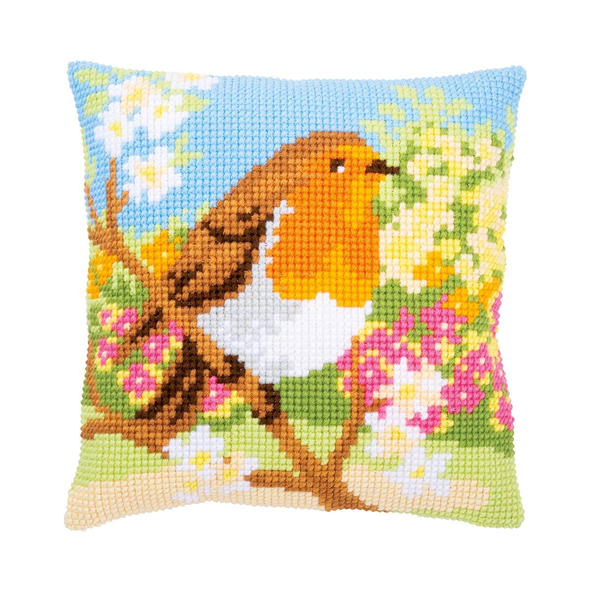PN-0164299 Набор для вышивания подушки Vervaco 'Зарянка в саду'' 40x40см