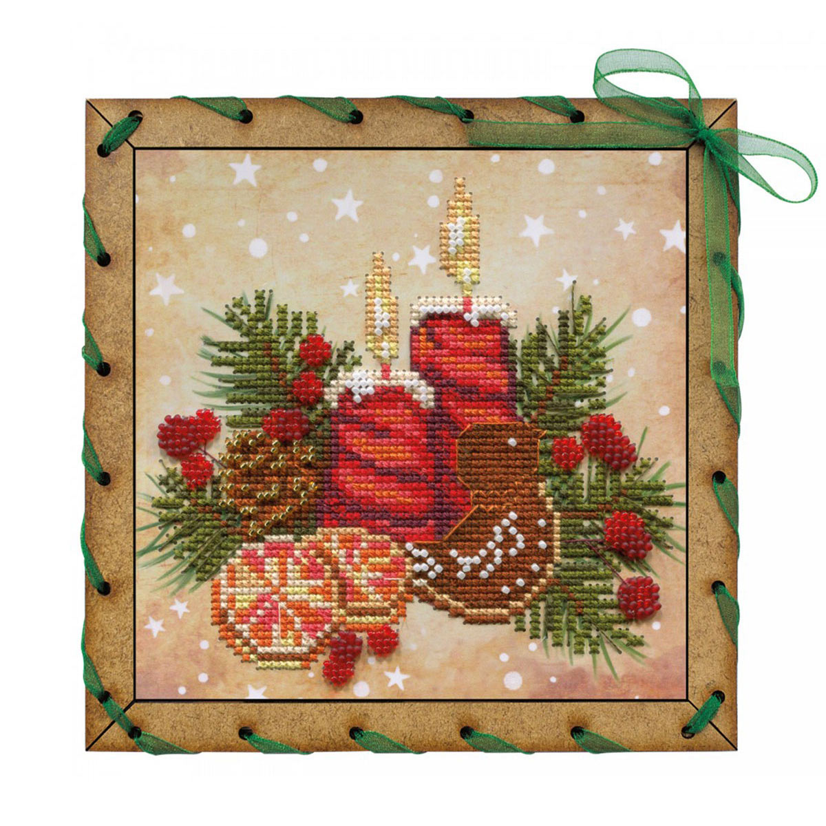 ОР7549 Набор для вышивания нитками 'Аромат рождества'15 x15см