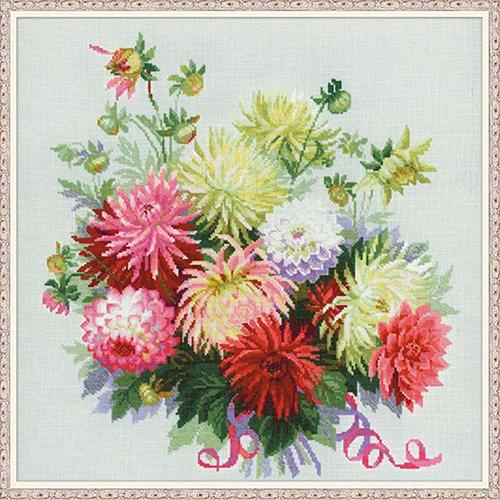 1384 Набор для вышивания Riolis 'Георгины', 45*45 см