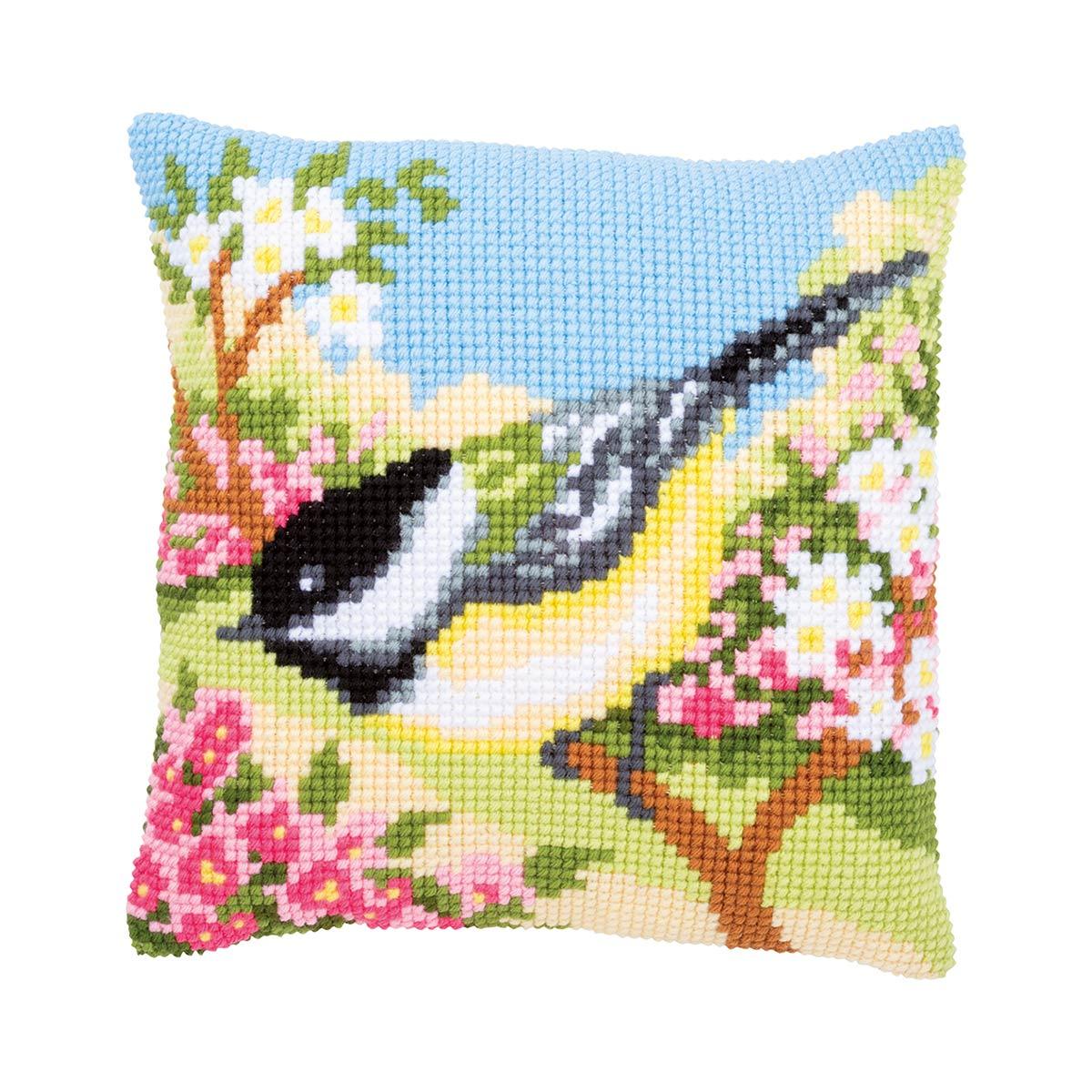 PN-0164300 Набор для вышивания подушки Vervaco 'Птичка в саду'' 40x40см
