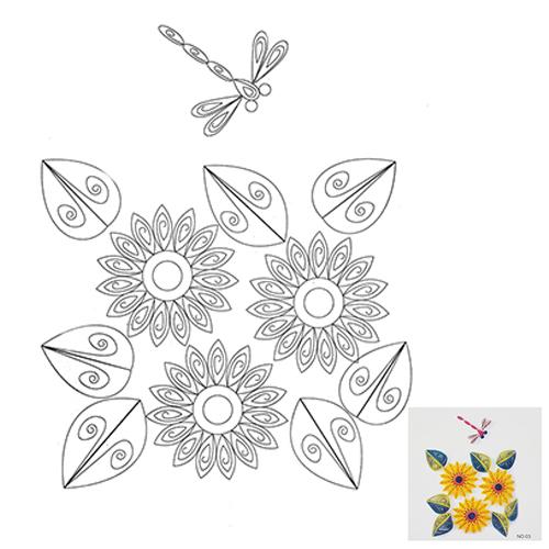 3 Схема для квиллинга 'Цветы и стрекоза'