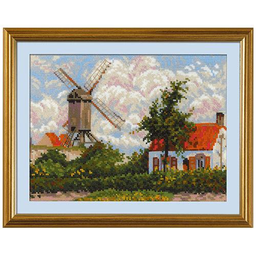 1702 Набор для вышивания Риолис 'Ветряная мельница в Кноке» по мотивам картины К. Писсарро' 33*25 см