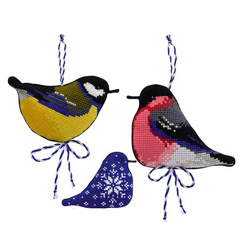 1742 Набор для вышивания Риолис ' Зимние птички'8*7,9*7 см