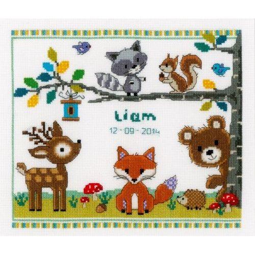 0150179-PN Набор для вышивания Vervaco 'Лесные животные I' 28x24см