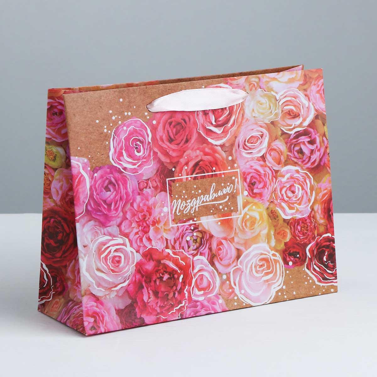 3680925 Пакет крафтовый горизонтальный «Цветочное настроение», L 40*31*9 см