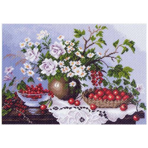 1232 Канва с рисунком 'Матренин посад' 'Натюрморт с ягодами', 37*49 см