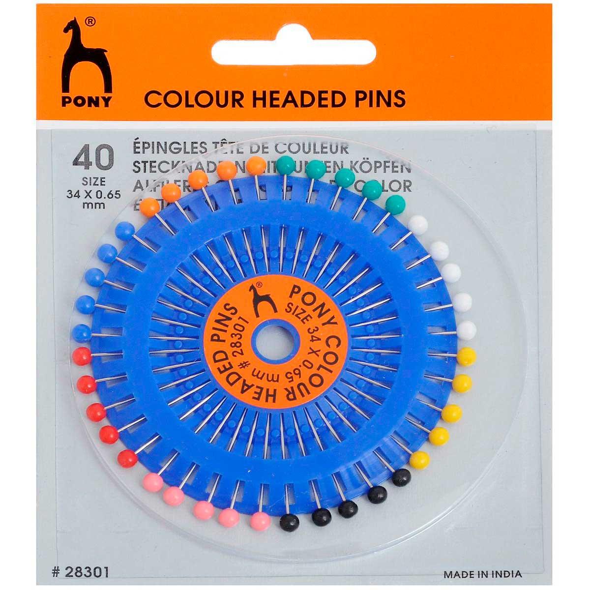 28301 Булавки наметочные цветная головка 0,65 мм/ 34 мм, сталь/пластик, 40 шт PONY