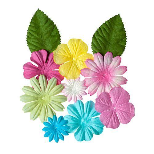SCB300307 Набор цветочков с листочками 'Пастельные', упак./10 шт.